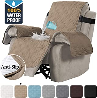 H.VERSAILTEX 100% Waterproof Quilted Recliner Chair Cover Recliner Cover Recliner Slipcover for Living Room, Secure with Elastic Strap and Non Slip Puppy Paw Silicone Backing (Oversized, Taupe)
