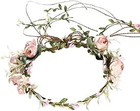 Clevoers Blumenkranz Blumenkrone Blumenkränze Blumenstirnband Blumen Stirnband Hochzeit Haarkranz Krone - Frauen Mädchen Blumenkranz Haare für Hochzeit Party