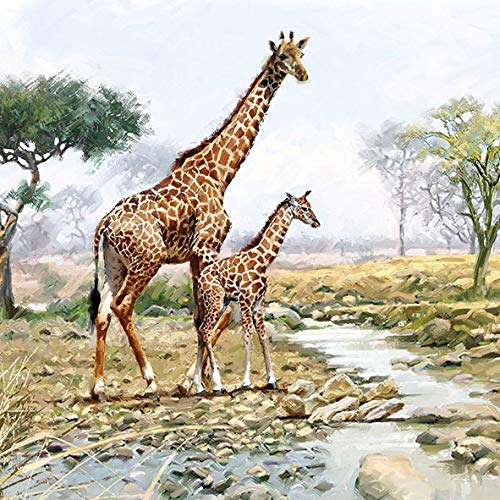 20 Servietten Giraffenfamilie am Fluss als Tischdeko oder zum Basteln mit Serviettentechnik 33x33cm
