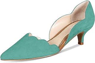 YDN Women Classic Pointy Toe Kitten Pumps Slip-on Suede Low Heel D'Orsay Shoes Formal