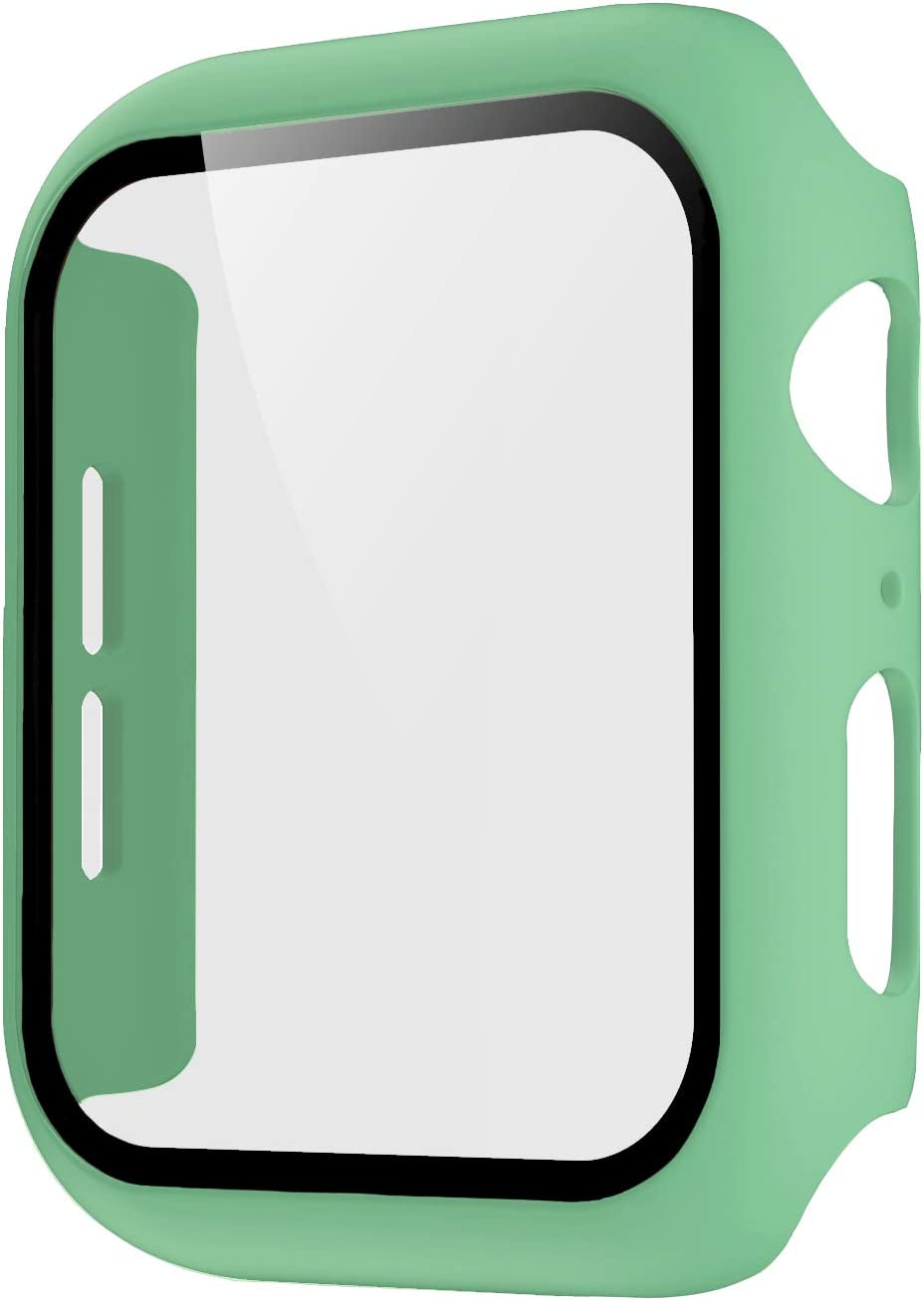 Pokanic Compatible with Apple Watch SE 6 5 4 3 2 1 Series iWatch 9H Tempered Glass Case Full Body Screen Protector Cover Wireless Charge Light Weight Scratch Resistant Proof (Mint Green, 44mm)