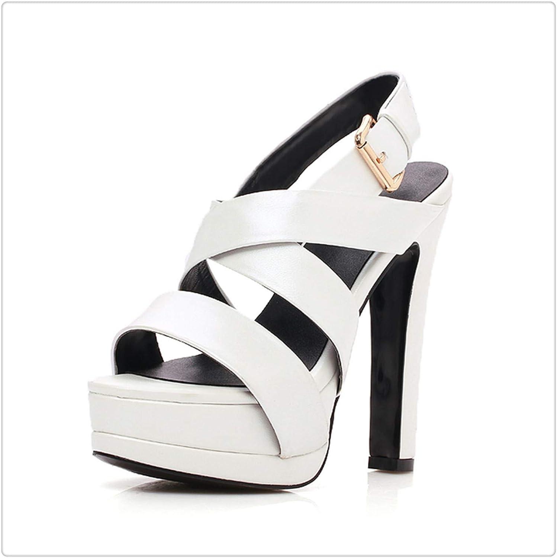 NNHLPO& Genuine Leather Sheepskin Platform Summer Sandals High Heels Party Gladiator
