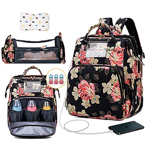 Cosy Casa Baby Travel Diaper Bag Backpack with Bassinet Changing Mat Changing Station,Folding Crib Bag Foldable Mommy Bag for Baby Girl Boy Infant Mom Diaper-Bag-Backpack-Baby-Travel(Flower(Upgrade))