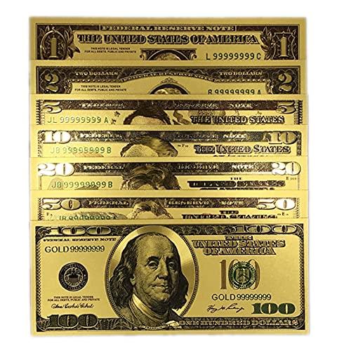 KANGDILE 7 unids / Set America Gold Foil Fake Banknote 1 2 5