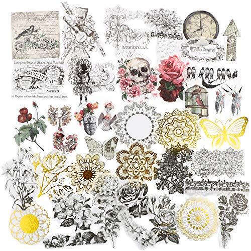 FLOFIA 120 Stück Sticker Scrapbooking Pflanzen Aufkleber Blumen Sticker Totenkopf Schmetterling Scrapbook Aufkleber Notizbuch Tagebuch Fotoalbum Kalender