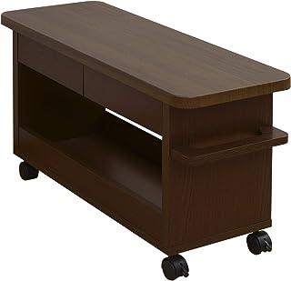 山善 サイドテーブル 幅75×奥行29×高さ41cm ロータイプ 引き出し 収納 手入れがしやすい天板 取っ手 ストッパー付きキャスター 組立品 ブラウン CKW-7529LD(BR)