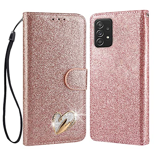 ChoosEU Compatible with Funda Samsung Galaxy A32 5G Cuero con Tapa y Cartera Carcasa con Silicona Suave Protectora Flip Case Antigolpes Brillante [Función de Soporte] - Oro Rosa