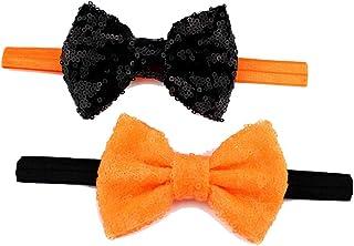 ربطة شعر للبنات باللون الأسود والبرتقالي عصابة رأس من قطعتين JHH25