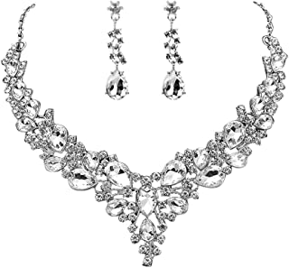 HapiBuy Crystal Bridal Jewelry Set Women's Rhinestone Necklace and Earrings Sets for Bride Bridesmaid Wedding Prom Party A...