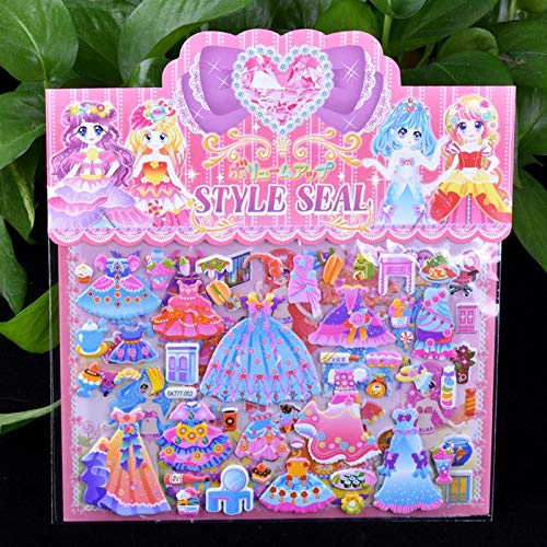 BLOUR DIY Doble Capa Linda Sirena/Princesa Vestir Pegatina para Diario teléfono portátil Libro niños Anime Kawaii Pegatinas niña Juguetes 1 Piezas