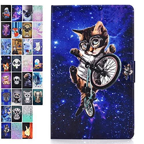 Ancase Tablet Hulle kompatibel fur Huawei MediaPad T3 100 Zoll Hulle Case Leder Tasche Muster Schutzhulle Flip Cover mit Kartenfach Schauspielkatze