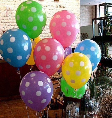 キュートな パステルカラーの ドット柄 バルーン 5色 20コセット パーティー等に 水玉 風船