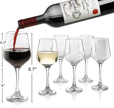 Copas de vino premium de 14 onzas, sin plomo, clásicas, con tallo, paquete de 6, ideales para vino blanco y tinto, regalo ele