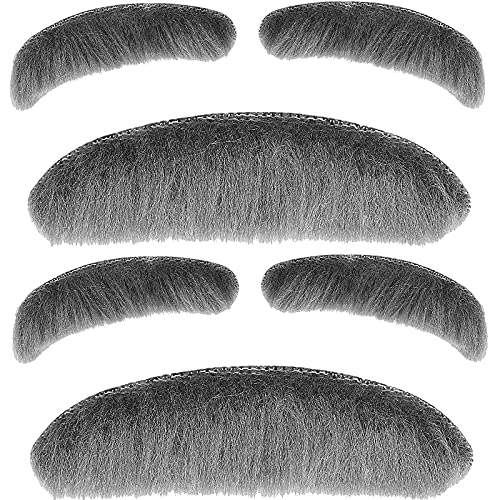 2 Pieces Old Man Costume for Boys, Gray Old Man Moustache and Eyebrows Set, Stick-on Mustache and Eyebrows, 100th Day of School Old Man Dress Up, Grandpa Costume Accessories Kit