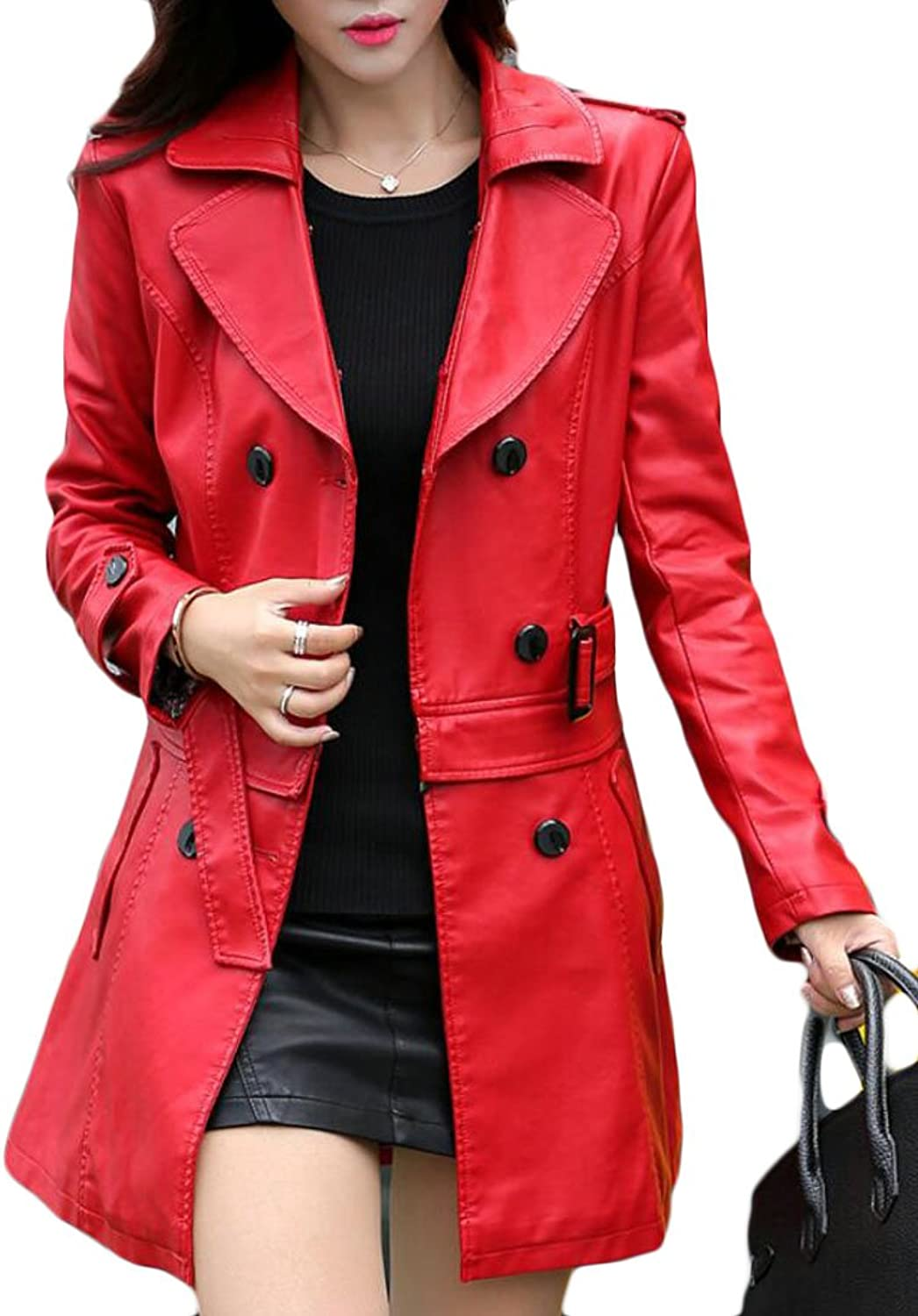 Alion Women's Slim Lapel Double Breasted MidLong PU Leather Jacket Coats
