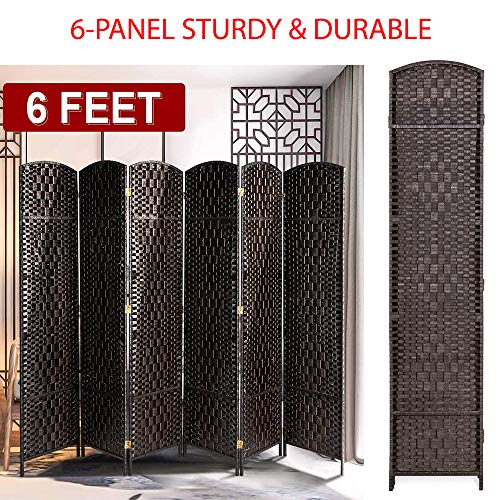 Best Deals! 6FT Tall Sturdy & Durable 6-Panel Diamond Weave Folding Room Divider Privacy Screen Extr...