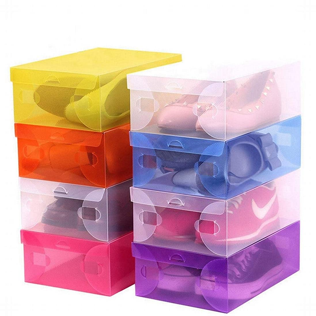 フルーツ野菜戻す提供するLKJASDHL 厚いクラムシェル透明な男性と女性の靴箱PPプラスチック折りたたみ靴箱子供用収納収納ボックス (色 : Yellow)