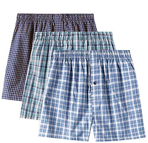LAPASA Pack de 3 Calzoncillos Bóxer de Tela Hombre Talla Grande American Style 100% Algodón Pijama M40 (L, Classic Colors (Blanco + Negro, Azul o Verde))