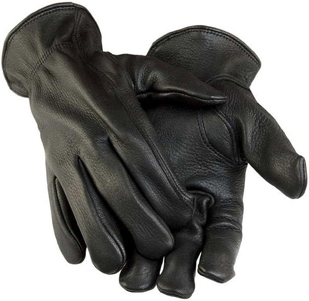 Northstar Womens Black Full Grain Deerskin Gloves (Unlined), Elastic Wrist 012B