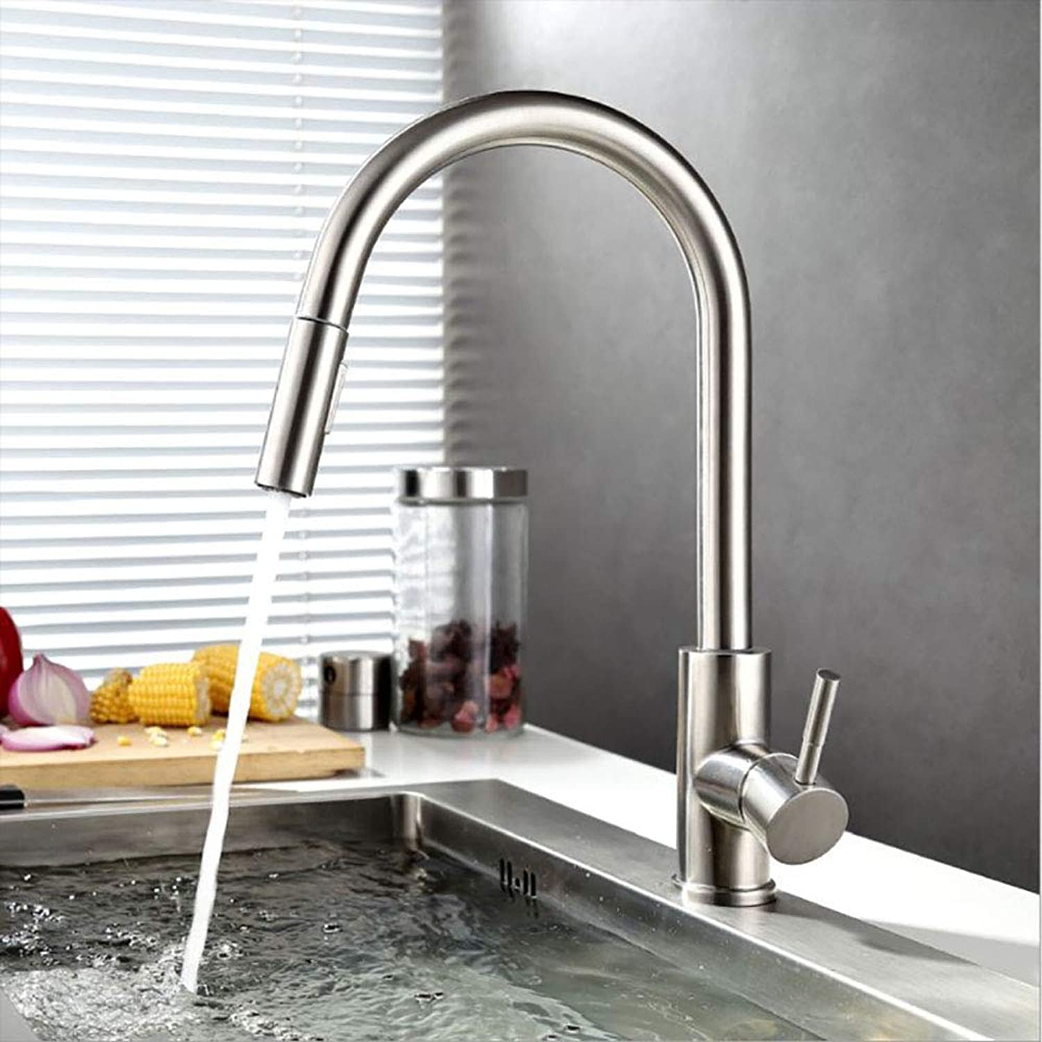 HUIJIN1 Touch Kitchen Faucets,304 stainless steel intelligent sensor touch water sink redatable 360 ° environmental predection water pumping hot and cold water faucet for kitchen, silver
