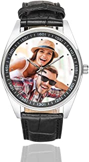 Custom Couple Photo Watch Casual Black Leather Strap Wrist Watches for Men/Your Boyfriend/Husband