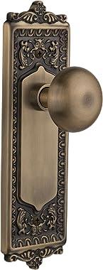"Nostalgic Warehouse Egg & Dart Plate with New York Knob, Privacy - 2.75"", Antique Brass"
