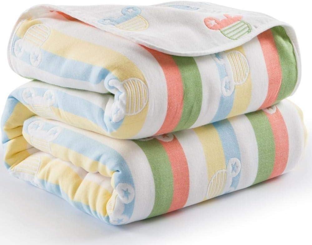 Couverture pour bébé 115 cm de coton de mousseline 6 couches épaisses nouveau-né emmaillotage automne bébé emmailloter literie respirante couverture de réception Blue Snow Deer