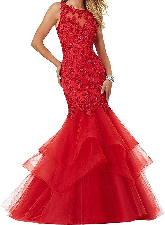 Engerla Women's Illusion Strap Long Sleeveless Lace Applique Organza Party Dress