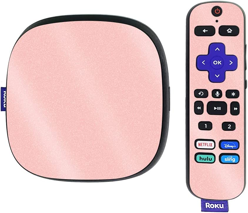 MightySkins Glossy Glitter Skin Compatible with Roku Ultra HDR 4K Streaming Media Player (2020) - Solid Blush | Protective, Durable High-Gloss Glitter Finish | Easy to Apply | Made in The USA