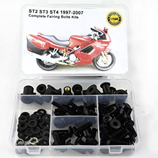 Xitomer Full Sets Fairing Bolts Kits, for DUCATI ST2 ST3 ST4 1997 1998 1999 2000 2001 2002 2003 2007 2005 2006 2007, Mounting Kits Washers/Nuts/Fastenings/Clips/Grommets (Matte Black)