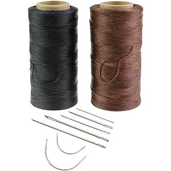 Cuero de costura encerado hilo 2 Pack 260 m 150D 1 mm con 7 piezas ...