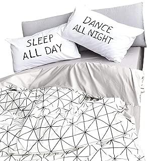 BuLuTu Diamond Grid Print Duvet Cover Twin Cotton White Grey Bedding Collections,1 Duvet Cover + 2 Pillowcases,3 Pieces Geometric Duvet Cover Set,Lightweight,Stylish,No Comforter
