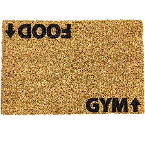 CKB Ltd® Food Gym Novelty Doormat Unique Doormats Kokosmatte Türmatte Fußmatte Einzigartige Fußabtreter Front/Back Door Matten mit einem rutschfesten PVC-Rücken - Natürliche Coir - Indoor & Outdoor