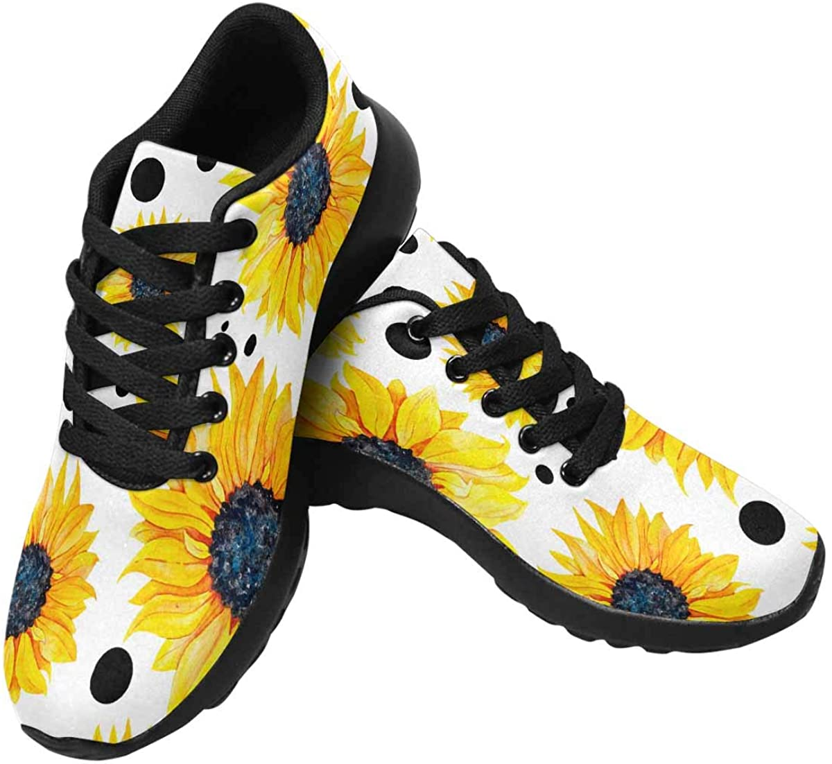InterestPrint Yellow Sunflowers on a White Womens Running Shoes Lightweight Sneakers Athletic Tennis Sport Shoes