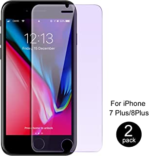 iPhone 8 Plus/iPhone 7 Plus Screen Protector by ICONFLANG, Anti Blue Light [Eye Protect] 2 Pack 9H Hardness 3D Touch Compatible Shockproof Anti-Scratch, Tempered Glass for iPhone 7 P and iPhone 8 P