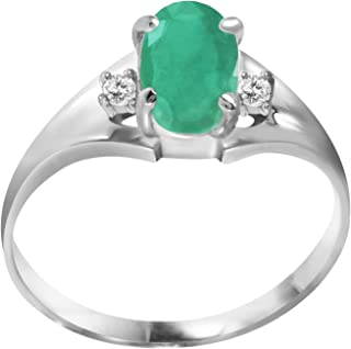 💎Galaxy Gold💎 14K Solid White Gold Ring 1.26 Carat Emerald Diamond Ring