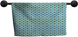 Wholesale Towel W 24 x L 8(inch) Pattern Towel,Mid Century,Vintage Diamond Pattern with Argyle Backdrop Geometrical Lattice of Circles,Turquoise Teal