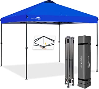 EAGLE PEAK 10' x 10' Straight Leg Pop Up Canopy Tent Instant Outdoor Canopy Easy Single Person Set-up Folding Shelter w/Infinite Adjustable Legs and 100 Square Feet of Shade (Blue)