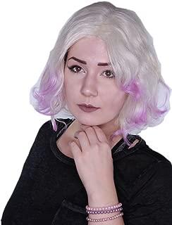 Prettyland Perruque Mi-Longue Moyen 35cm Prune Violet Rouge Cheveux Lisses Frange Droite Tous les Jours C1277