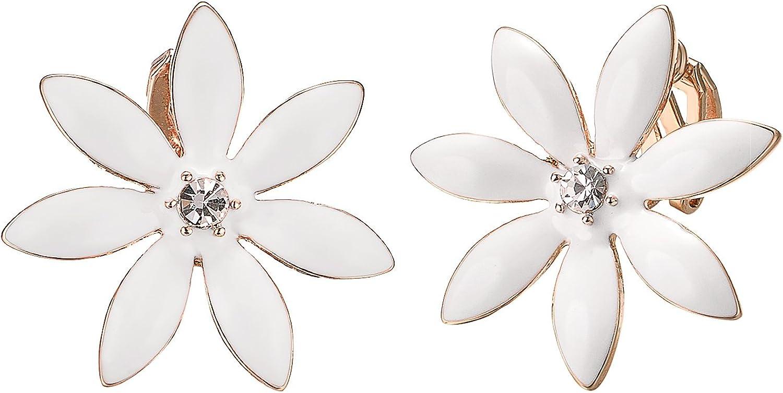 Yoursfs White Flower Clip On Earrings for Women 18K Gold Plated Fashion Earrings Non Pierced Ears