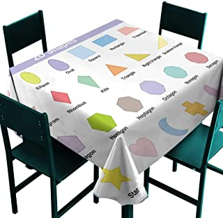 Glifporia Oblong Tablecloth Educational,Classical Basic 2D Shapes Colorful Design Cartoon Style Children Learning Study,Multicolor,W36 x L36 for Cards