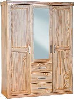 Inter Link Armoire penderie contemporaine à portes battantes miroir intégré Pin massif vernis naturel