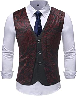 GRMO Men Casual Slim Fit Printed Button Front Suit Vests Waistcoat