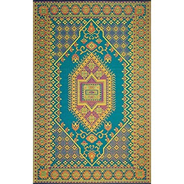Mad Mats® Oriental Turkish Indoor/Outdoor Floor Mat, 4 by 6-Feet, Aqua