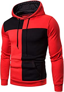 Chunmei Men's Hoodie Sweatshirt Patchwork Drawstring Pocket Pullover Jacket Casual Long Sleeve Loose Top Sweatshirt Outdoo...