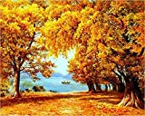 LKAZLL Oil Painting Kits DIY Paint by Numbers Adult Canvas Home Decoration Art Wall Gift Big Yellow Tree in Autumn 16x20 inch