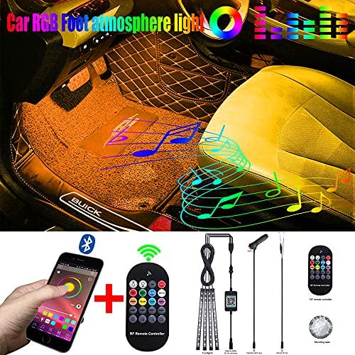 QAUBEN Interior del Coche Iluminación Ambiental Cable de Fibra óptica RGB 64 Colores Música Multicolor Kit de iluminación del Espacio para los pies del Coche 12-24V 5m