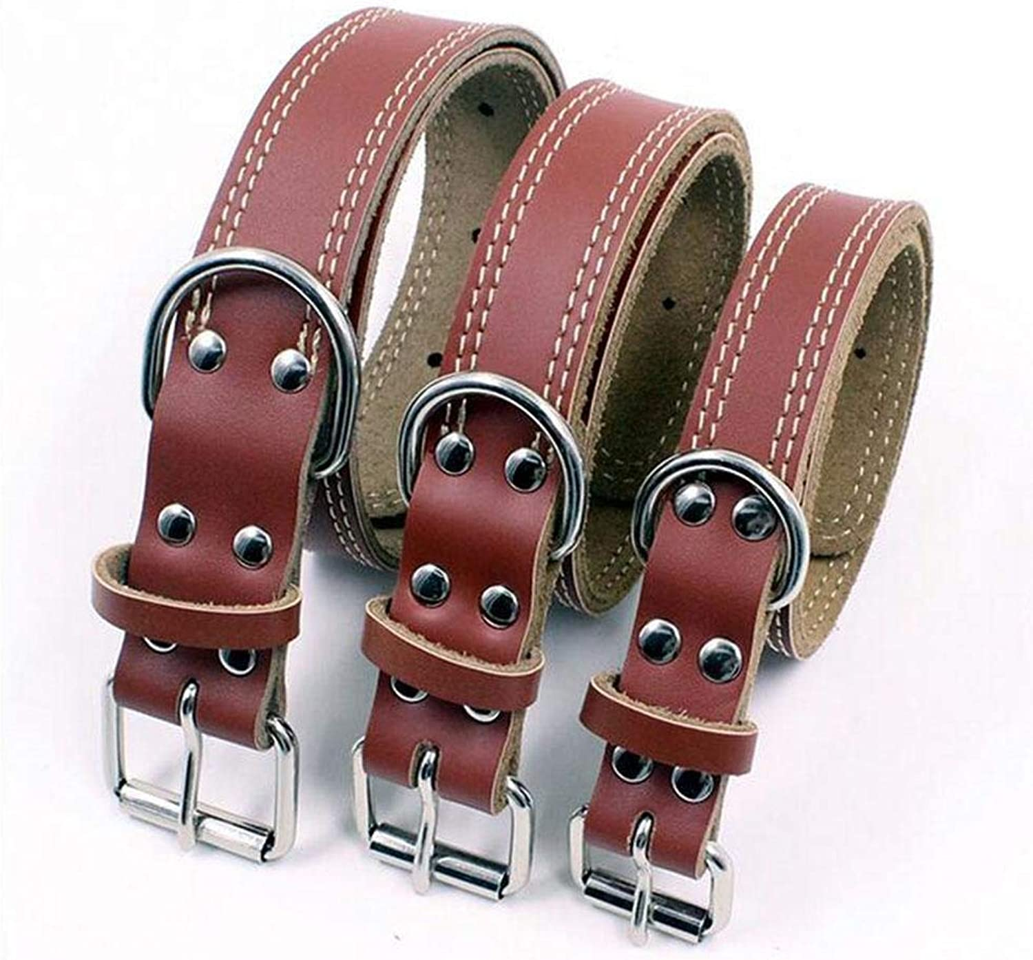 Dog Lead Vivifying Leather Dog Collar, Durable and Comfortable Genuine Leather Pet Collar for Large, Medium and Small Dogs, Choice of Size(Brown), M Dog Training Leash (Size   M)