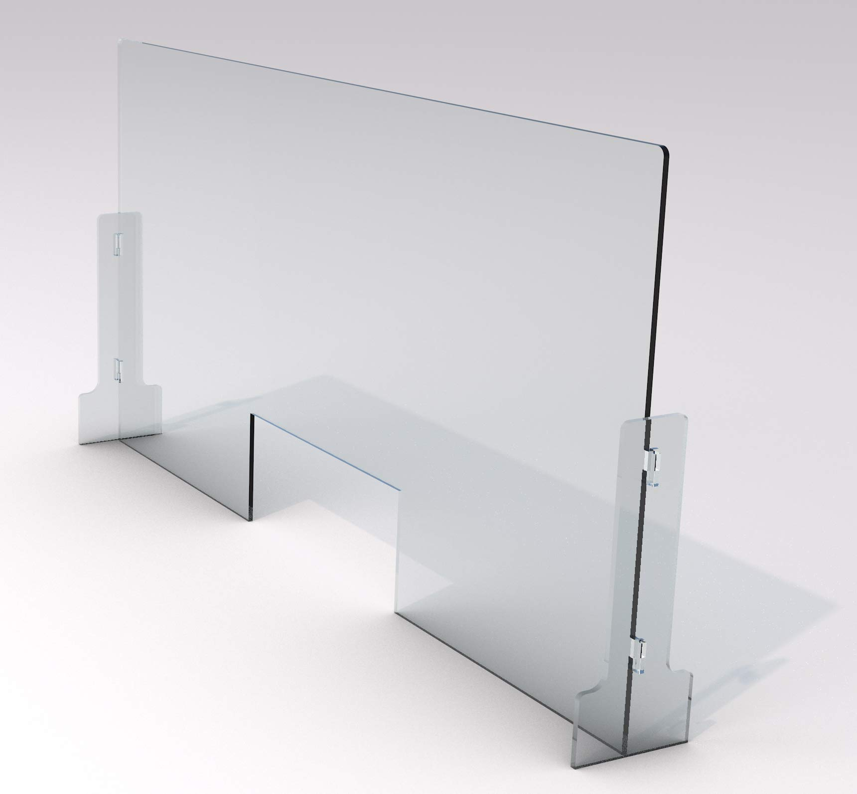 Sneezedefense Protective Sneeze Guard For Counter Desk Freestanding Clear Acrylic Shield For Business Customer Safety Portable Plexiglass Barrier Pass Through Transaction Window 36 W X 24 H Home Improvement
