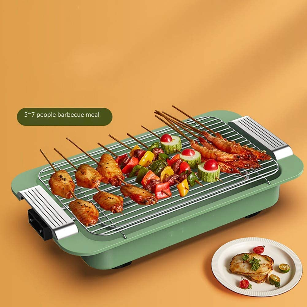 Grill Barbecue électrique, Barbecue Grill électrique Ménage, Smokeless Barbecue Grill, grande capacité Grill Pan facilement Beaucoup Satisfy personnes Gathering,Bleu Red
